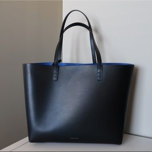 Mansur Gavriel Large Tote (Black/Royal)
